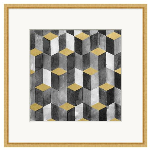 Piper Gold Leaf Block Geometric Matte Charcoal Painting | Kathy Kuo Home
