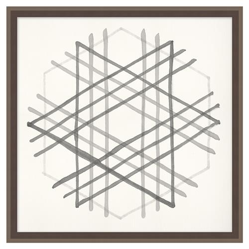 Edison Cross Hatch Soft Grey Geometric Contemporary Art | Kathy Kuo Home