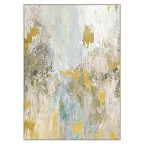 Bailey Grey Pastel Gold Leaf Fragment Giclee Painting - II | Kathy Kuo Home