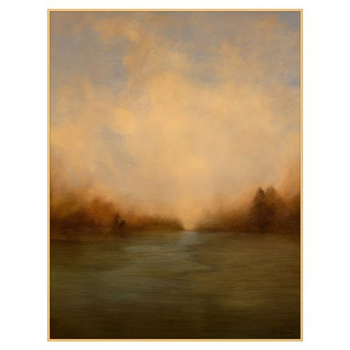 Esther Warm Green Yellow Prarie Abstract Landscape Canvas Painting | Kathy Kuo Home