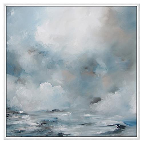 Keira Blue Waves Clouds Abstract Canvas Painting | Kathy Kuo Home