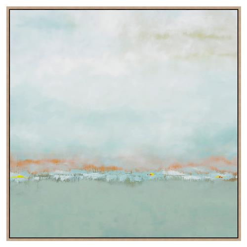 Ayden Blue Sea Green Rust Orange Abstract Canvas Panting | Kathy Kuo Home