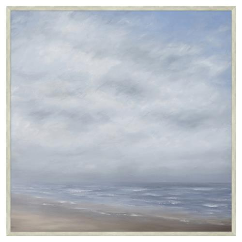 Ariana Cloudy Grey Wave Break Abstract Giclee Canvas Painting | Kathy Kuo Home