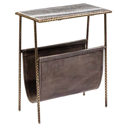 Interlude Strauss Loft Grey Leather Magazine Holder End Table | Kathy Kuo Home