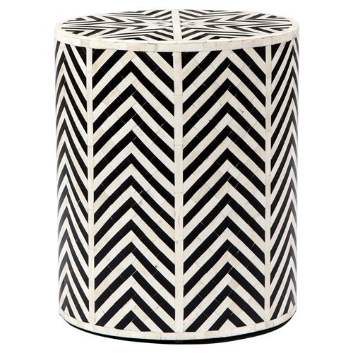 Interlude Kiara Bazaar Bone Inlay Geometric Black End Table | Kathy Kuo Home