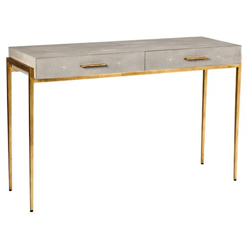 Interlude Morand Regency Taupe Faux Shagreen Gold Leaf Small Desk | Kathy Kuo Home