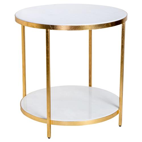 Austie Regency Gold Leaf White Marble End Table | Kathy Kuo Home