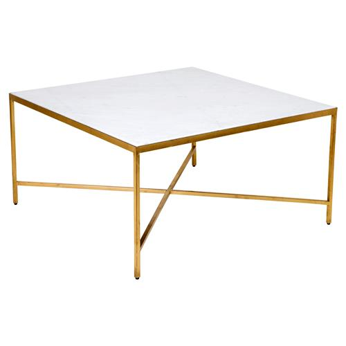 Austie Regency Gold Leaf Square Marble Coffee Table Kathy Kuo Home