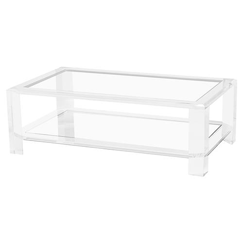 Interlude Surrey Modern Glass Acrylic Block Coffee Table | Kathy Kuo Home