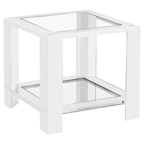 Ryan Modern Glass Acrylic Block Side Table Ebay