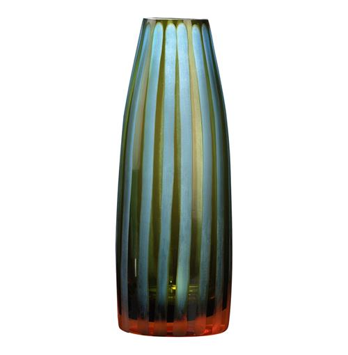 Cyan Blue Orange Striped Chiseled Glass Vase - 11 Inch | Kathy Kuo Home
