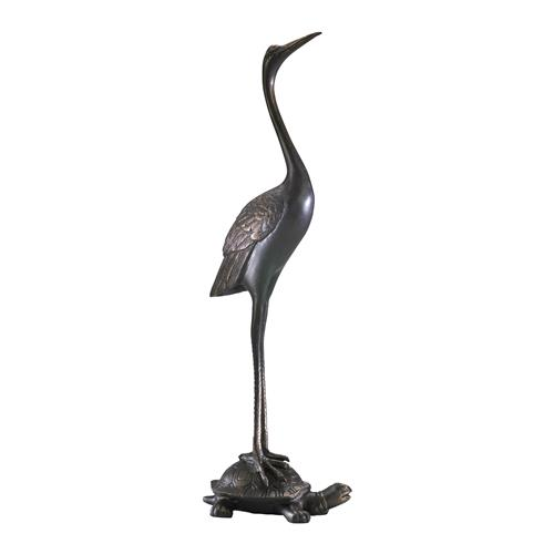 Crane Resting on Turtle Carved Iron Door Stop | Kathy Kuo Home