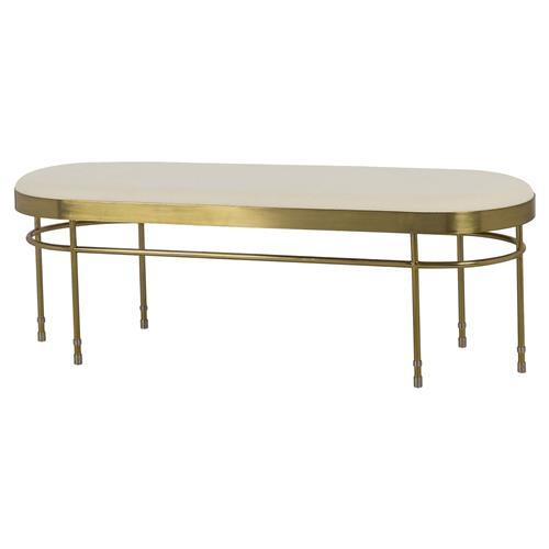 Boyd Lozenge Hollywood Regency Rounded Gold Ivory Bench | Kathy Kuo Home