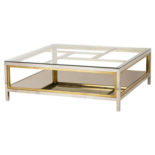 Boyd Windmill Regency Glass Silver Gold Coffee Table | Kathy Kuo Home