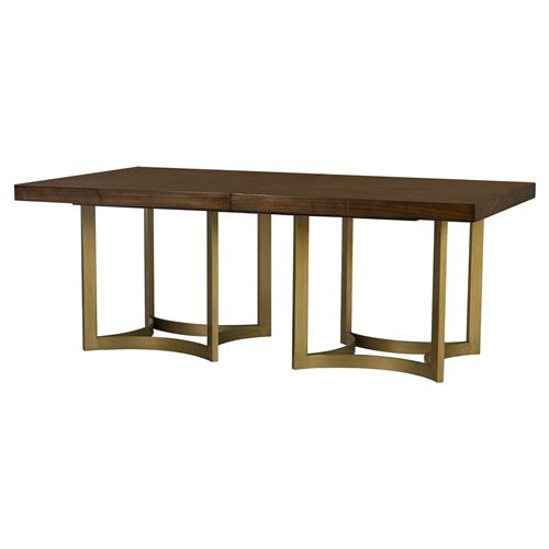 Maison 55 Ashton Modern Brushed Gold Walnut Dining Table | Kathy Kuo Home