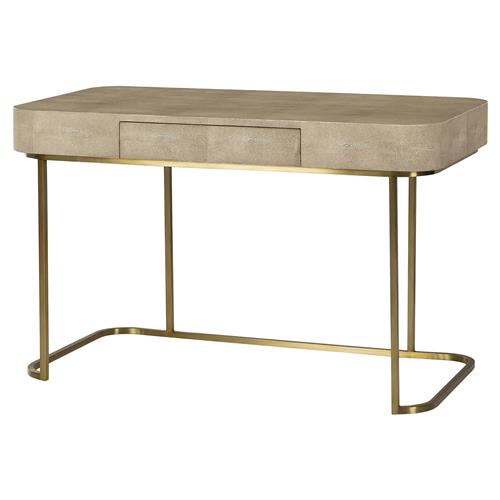 Maison 55 Jacques Regency Deco Linen Shagreen Brass Small Desk | Kathy Kuo Home