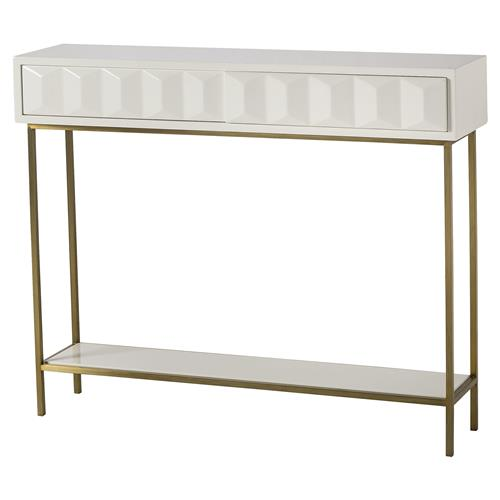 Danae Regency Mod White Lacquer Facet Console Table