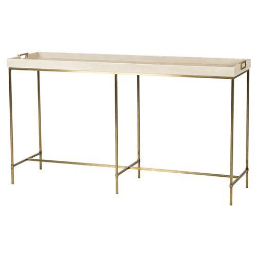 Shagreen Coffee Table Tray: Maison 55 Lexi Hollywood Brass Ivory Shagreen Tray Console