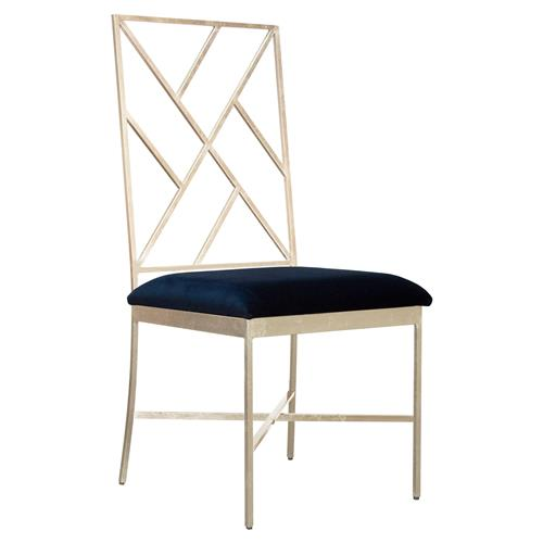 Adrion Silver Leaf Fretwork Navy Velvet Side Chair | Kathy Kuo Home