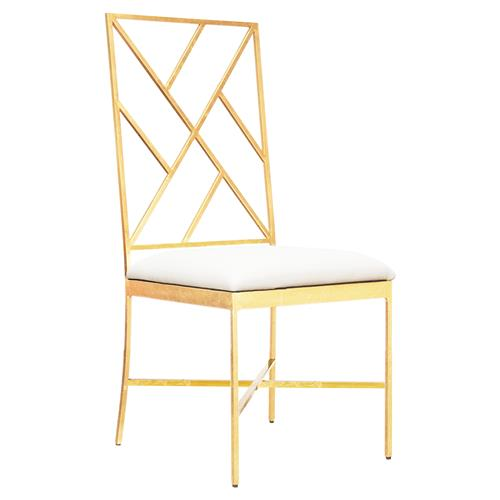 Adrion Gold Leaf Fretwork White Side Chair | Kathy Kuo Home