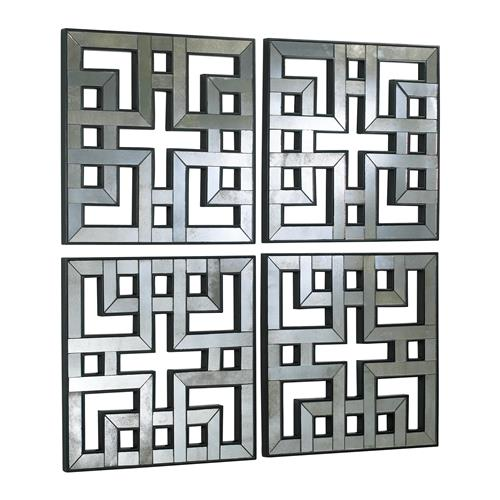 Set of 4 Akari Contemporary Lattice Mirrored Wall Panels | Kathy Kuo Home