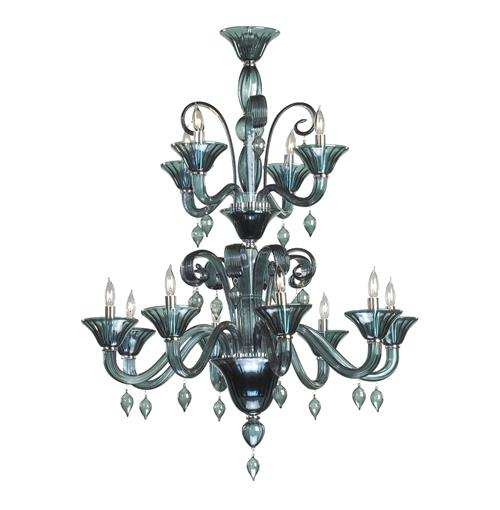 Treviso Blue Grey 12 Light Murano Glass Style Chandelier | Kathy Kuo Home