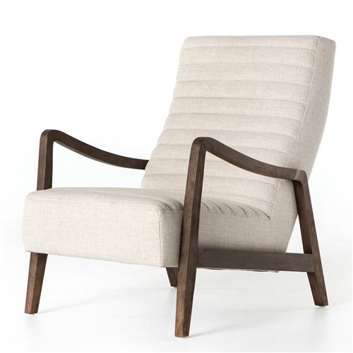 Elkan Channel Tuft Mid Century Beige Arm Chair | Kathy Kuo Home