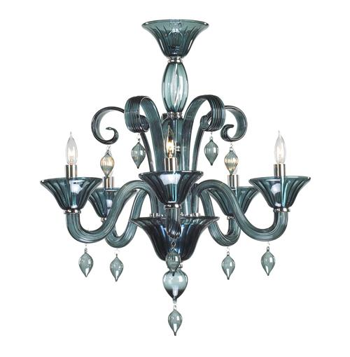 Treviso 5 Light Dark Blue Smoke Murano Glass Style Chandelier | Kathy Kuo Home