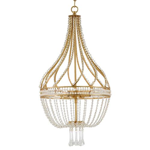 Alulah Regency Crystal Gold Leaf Empire Chandelier | Kathy Kuo Home