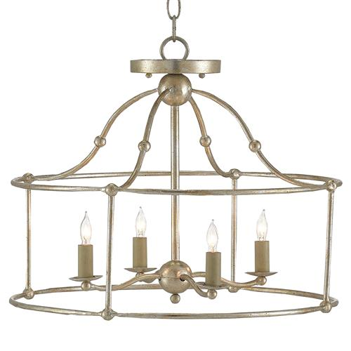 Orenda Modern Silver Leaf Simple Iron Semi Flush Pendant | Kathy Kuo Home