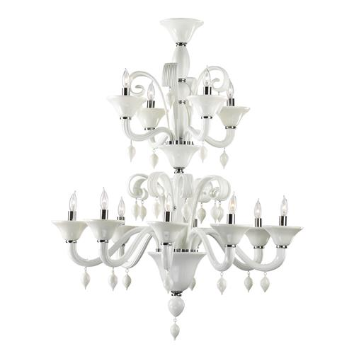 Treviso 12 Light Opaque White 2 Tier Murano Glass Style Chandelier | Kathy Kuo Home