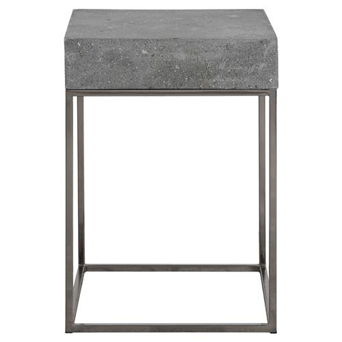 Rumer Industrial Loft Steel Concrete End Table | Kathy Kuo Home