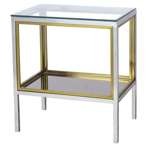 Boyd Windmill Regency Glass Silver Gold End End Table | Kathy Kuo Home