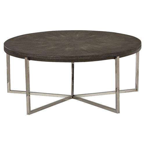 resource decor winifred charcoal grey shagreen round iron coffee table. Black Bedroom Furniture Sets. Home Design Ideas