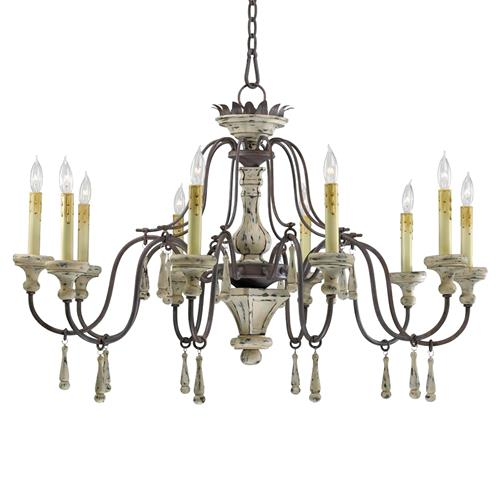 Provence French Country White and Grey Wash 10 Light Chandelier | Kathy Kuo Home