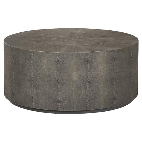 Barlow Drum Regency Round Charcoal Shagreen Coffee Table Kathy Kuo Home