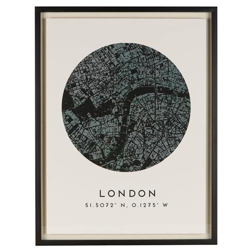 London by Map Antique Black Coordinate Giclee Print | Kathy Kuo Home