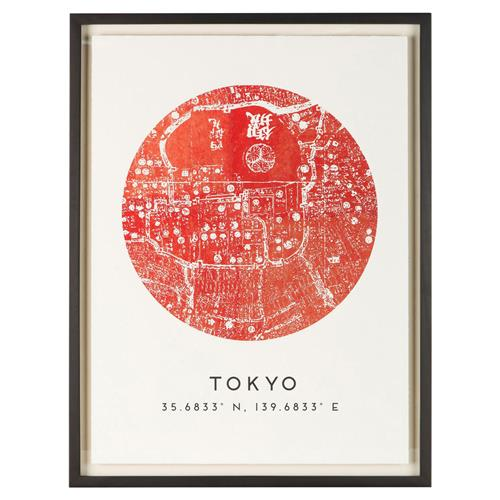 Tokyo by Map Vintage Red Coordinate Giclee Print | Kathy Kuo Home