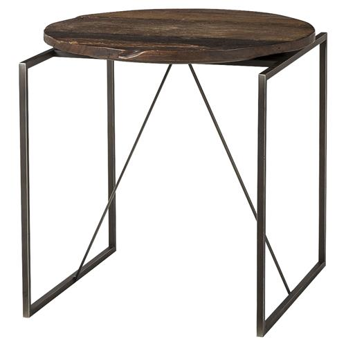Thomas Bina Georgina Industrial Lodge Peroba Wood Metal End Table | Kathy Kuo Home