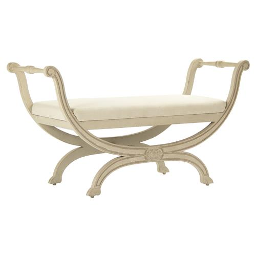 Matilda French Country Curved Side Antique Ivory Bench | Kathy Kuo Home