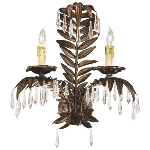 Antique Brass Palm Frond Crystal Two Light Wall Sconce | Kathy Kuo Home