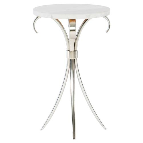 Diana Curved Silver Round Stone Side Table | Kathy Kuo Home