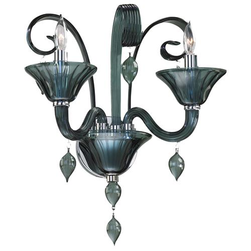 Treviso 2 Light Smoked Blue Grey Murano Glass Wall Sconces | Kathy Kuo Home