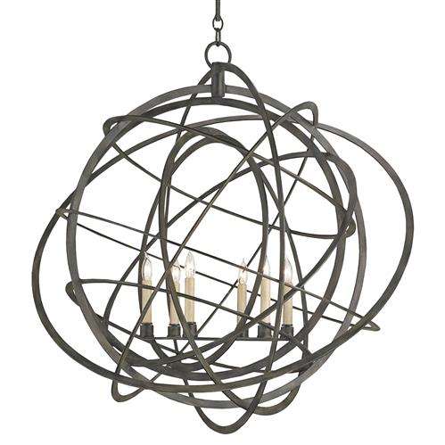 Atomic Modern Loft Black Iron Orb Chandelier | Kathy Kuo Home