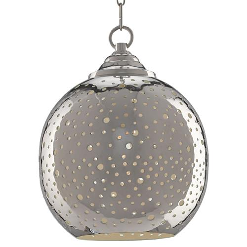 Celestine Modern Classic Nickel Punctured Pendant | Kathy Kuo Home