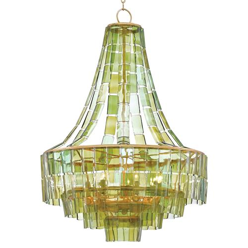 Rodger Modern Recycled Green Wine Glass Chandelier | Kathy Kuo Home