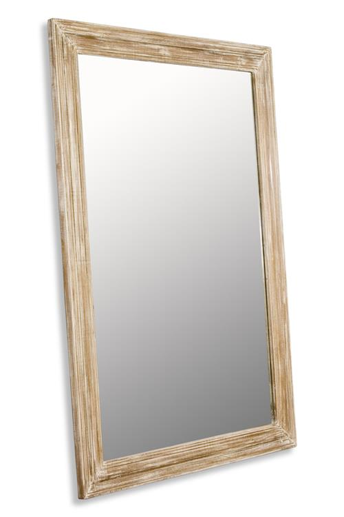 Brignoles Rustic White Grey Wash Grande Floor Mirror | Kathy Kuo Home
