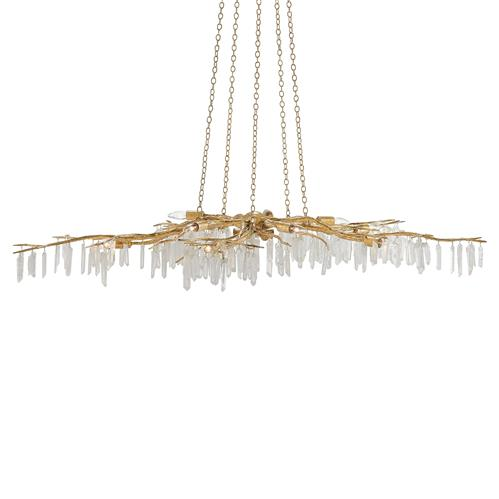 Illia Modern Gold Branch Quartz Stone Chandelier | Kathy Kuo Home