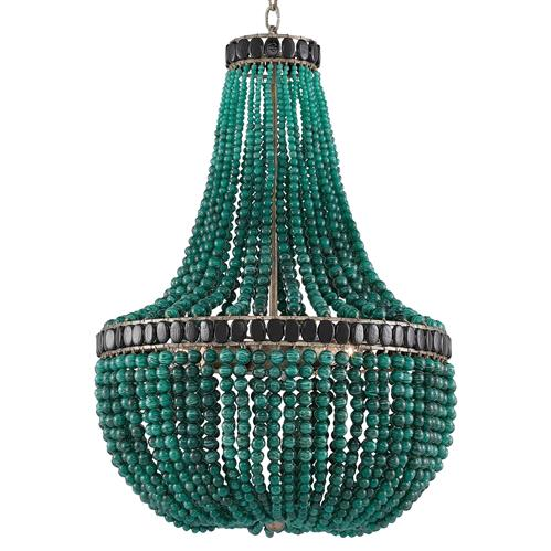 Global Bazaar Emerald Green Beaded Chandelier | Kathy Kuo Home