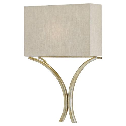 Lexie Modern Classic Natural Linen Silver Leaf Sconce | Kathy Kuo Home